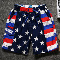Lace-Up Star and Stripe Print Straight Leg Pocket Shorts For Men -