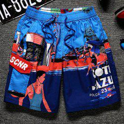 Lace-Up Color Block Cartoon Print Straight Leg Pocket Shorts For Men -