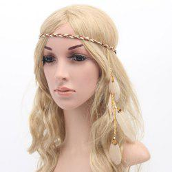 Chic American Indian Style Feather Pendant Weaving Headband For Women -