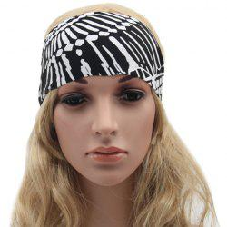 Chic Tribal Style White Doodle Pattern Black Sport Headband For Women -