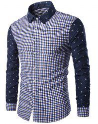 Modish Turn-Down Collar Plaid Print Tiny Skulls Pattern  Long Sleeve Men's Shirt