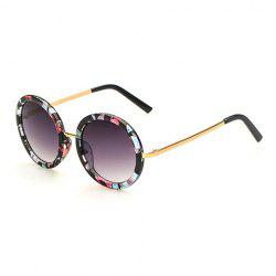 Chic Floral Pattern Round Frame Gold Metal Leg Sunglasses For Women -