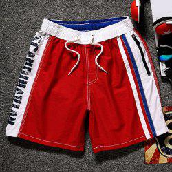 Lace-Up Color Block Splicing Letter Print Straight Leg Pocket Shorts For Men -