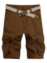 Solid Color Stereo Patch Pocket Straight Leg Zipper Fly Cargo Shorts For Men - COFFEE