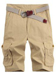 Solid Color Stereo Patch Pocket Straight Leg Zipper Fly Cargo Shorts For Men - KHAKI
