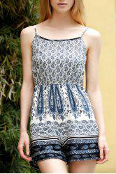 Stylish Spaghetti Straps Printed Backless Romper For Women -