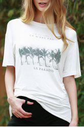 Casual Round Neck Short Sleeve Coconut Palm Print Women's White T-Shirt
