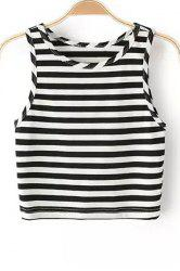 Trendy Round Collar Striped Cropped Tank Top For Women -