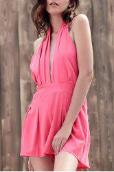 Stylish Plunging Neck Sleeveless Wide Leg Women's Romper