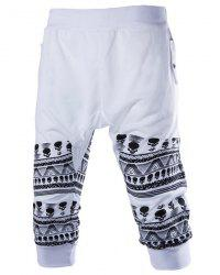 Beam Feet Skulls Pattern Rib Splicing Elastic Waist Capri Pants -