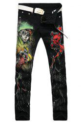 Casual Zip Fly Skull Printing Straight Legs Denim Pants For Men -