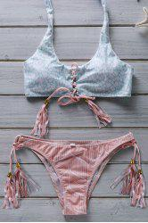 Halter Lace Up Flower Print Bathing Suit