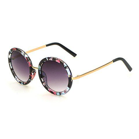 Shops Chic Floral Pattern Round Frame Gold Metal Leg Sunglasses For Women