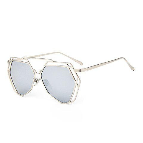 Unique Chic Hollow Metal Silver Polygonal Frame Sunglasses For Women