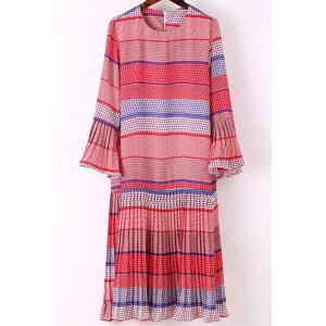 Trendy Round Collar Flare Sleeve Printed Dress For Women