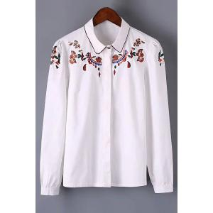 Stylish Long Sleeve Embroidered Women's Shirt