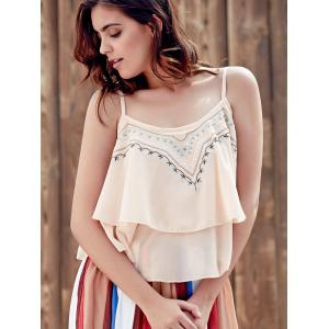 Embroidered Ruffle Cami Tank -