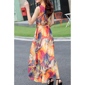 Chiffon Print Sleeveless Jewel Neck Beach Dress -