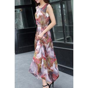 Chiffon Print Sleeveless Jewel Neck Beach Dress