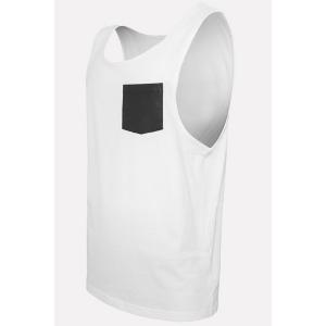Round Neck PU-Leather Pocket Applique Sleeveless Tank Top For Men