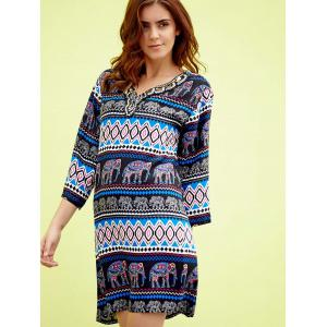 Chic V-Neck 3/4 Sleeve Beaded Elephant Print Women's Dress -