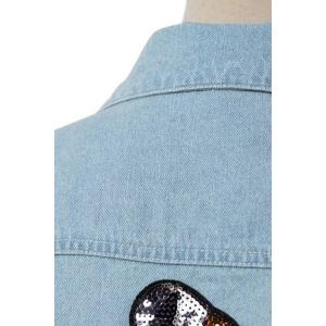 Chic Light Blue Sequined Women's Denim Jacket -