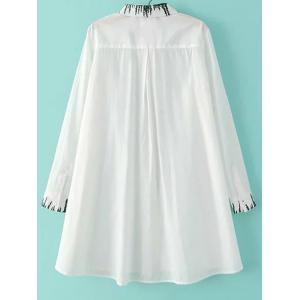 Chic Shirt Collar Long Sleeve Irregular Embroidery Loose Blouse For Women -