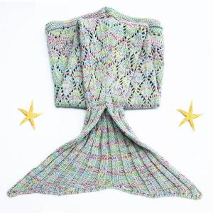 Endearing Argyle Cut Out Knitted Mermaid Blanket For kids - COLORMIX