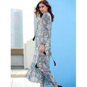 V-Neck Floral Print Drawstring Chiffon Maxi Dress - LIGHT BLUE S
