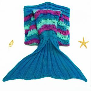 Stylish Sea Wave Pattern Mermaid Shape Kid's Knitted Blanket and Throws - Colormix