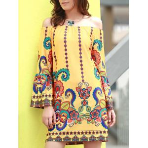 Fashionable Off The Shoudler  Long Sleeve Print A-Line Dress For Women - Yellow - 2xl