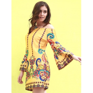 Fashionable Off The Shoudler  Long Sleeve Print A-Line Dress For Women - YELLOW 2XL
