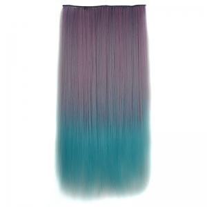 Fashion Long Silky Straight Two-Tone Ombre Clip-In Synthetic Hair Extension For Women