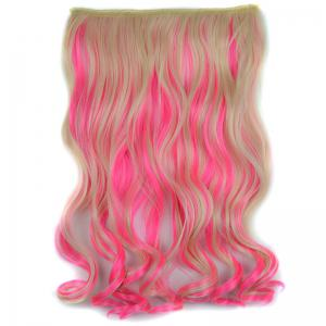 Stylish Light Blonde Mixed Pink Synthetic Shaggy Curly Long Clip In Hair Extension For Women