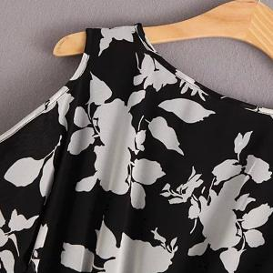 Graceful Scoop Neck Short Sleeve Floral Print Cold Shoulder Dress For Women -