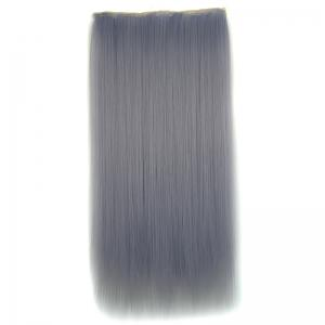 Attractive Long Silky Straight Light Grandma Ash Clip In Synthetic Hair Extension For Women - Light Gray - 18inch