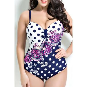 Floral Print Polka Dot Push Up One Piece Swimwear