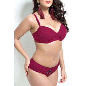 Plus Size Push Up Bikini Suit - DEEP RED 7XL