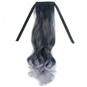 Stunning Black Ombre Grandma Ash Synthetic Fluffy Wavy Long Capless Ponytail For Women - Ombre 1211#