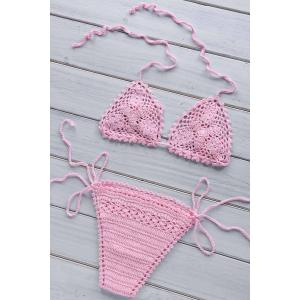 Sexy Halter Lace-Up Women's Crochet Bikini Set -