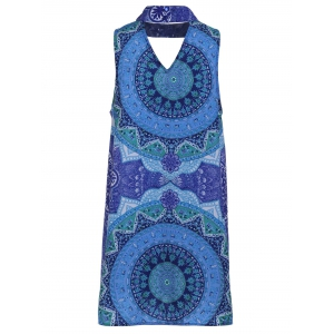 Retro Style Stand Collar Sleeveless Printed Hollow Out Women's Dress - COLORMIX S
