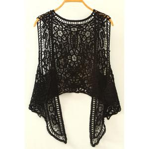 Fashionable Sleeveless Hollow Out Asymmetrical Crochet Women's Cardigan -