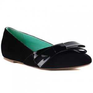 Ladylike Bow and Suede Design Flat Shoes For Women - Black - 39