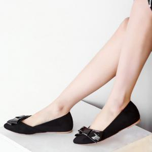 Ladylike Bow and Suede Design Flat Shoes For Women - BLACK 36