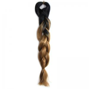 Outstanding Long Heat Resistant Fiber Capless Black Brown Ombre Braided Hair Extension For Women - Black And Green
