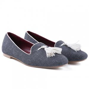 Casual PU Leather and Tassels Design Flat Shoes For Women -