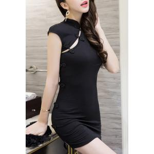 Sweet Mandarin Collar Cut Out Bodycon Women's Dress -