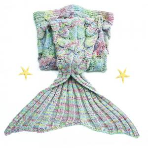Endearing Multicolored Mermaid Knitted Blankets and Throws - COLORMIX