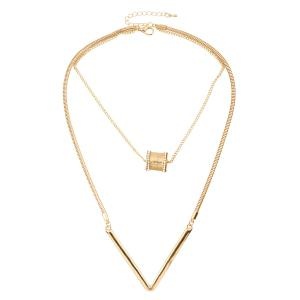 Letter V Shape Bead Pendant Necklace - Golden