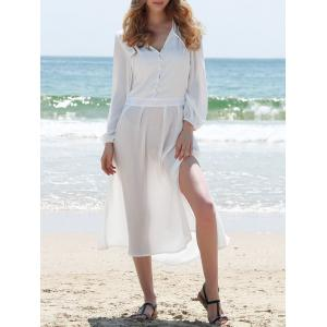 Long Sleeve Slit Shirt Swing Sheer Flowy Dress